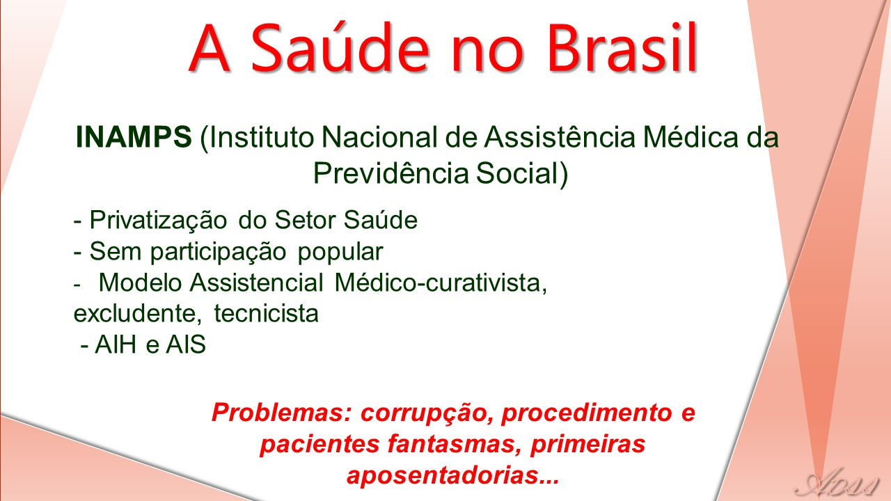 INAMPS (Instituto Nacional de Assistência Médica da Previdência Social) - Privatização do Setor Saúde - Sem participação popular - Modelo Assistencial