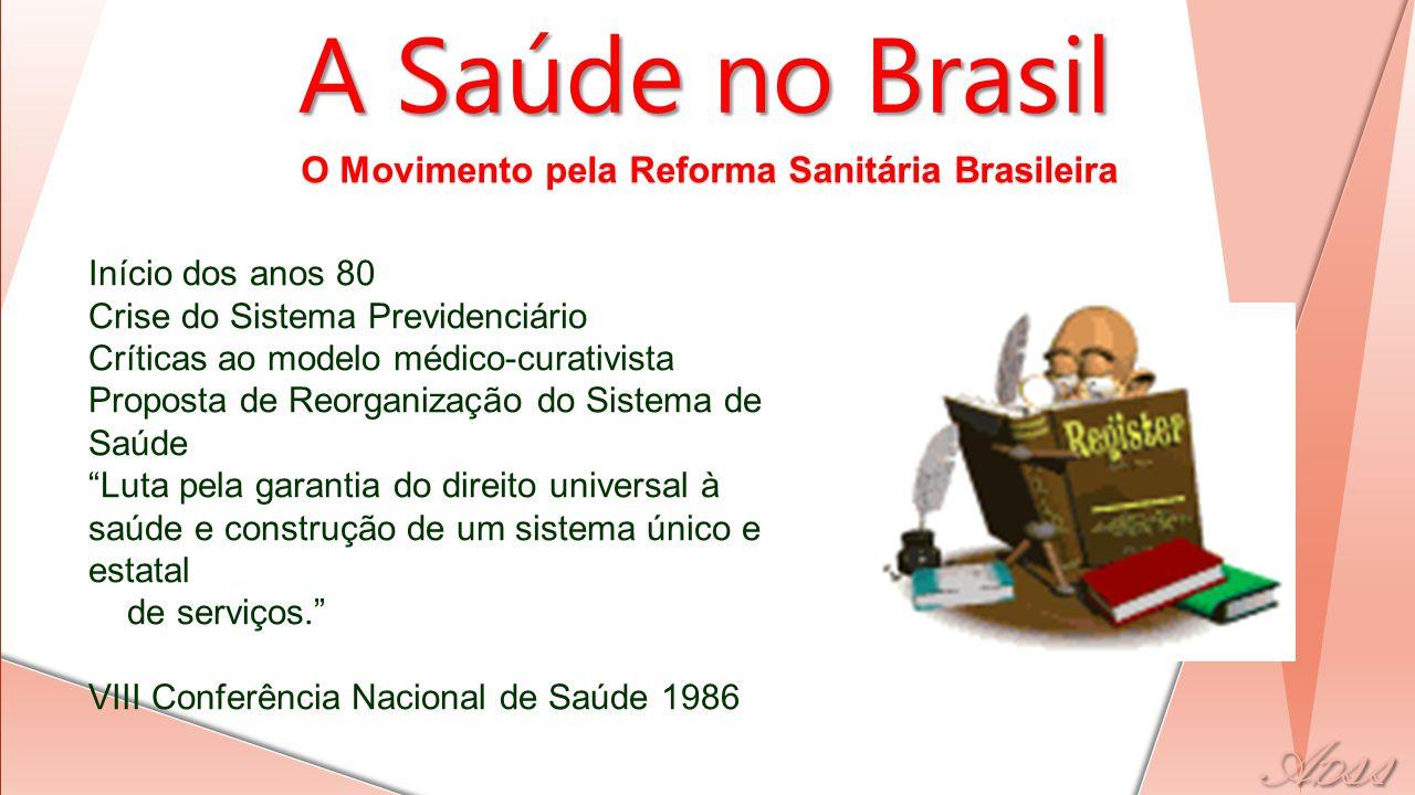 O Movimento pela Reforma Sanitária Brasileira A Saúde no Brasil Início dos anos 80 Crise do Sistema Previdenciário Críticas ao modelo médico-curativis
