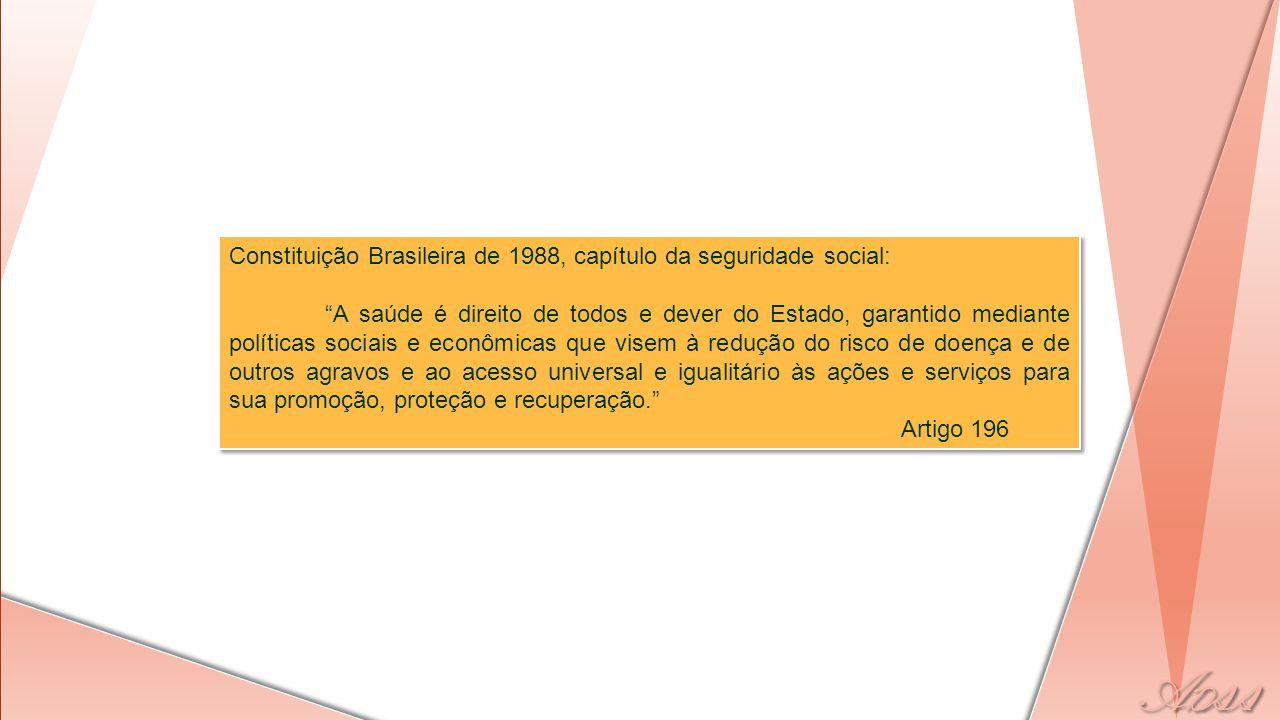 """Constituição Brasileira de 1988, capítulo da seguridade social: """"A saúde é direito de todos e dever do Estado, garantido mediante políticas sociais e"""