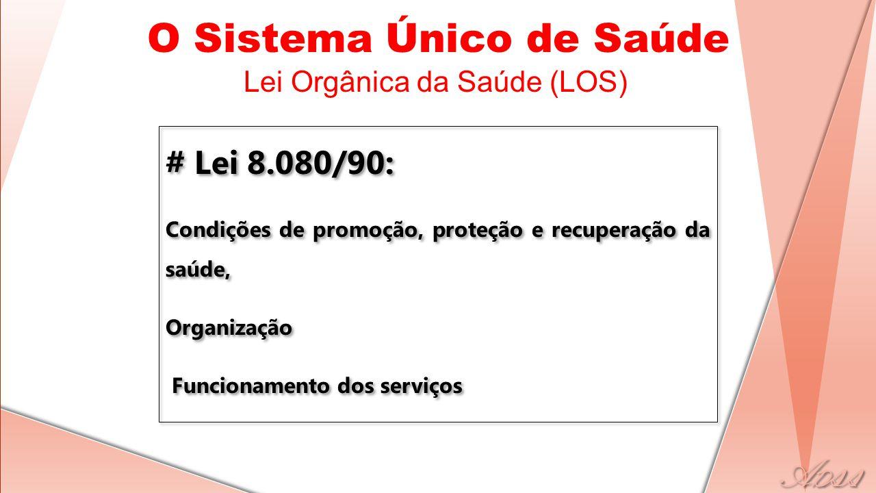 # Lei 8.080/90: Condições de promoção, proteção e recuperação da saúde, Organização Funcionamento dos serviços # Lei 8.080/90: Condições de promoção, proteção e recuperação da saúde, Organização Funcionamento dos serviços O Sistema Único de Saúde Lei Orgânica da Saúde (LOS)