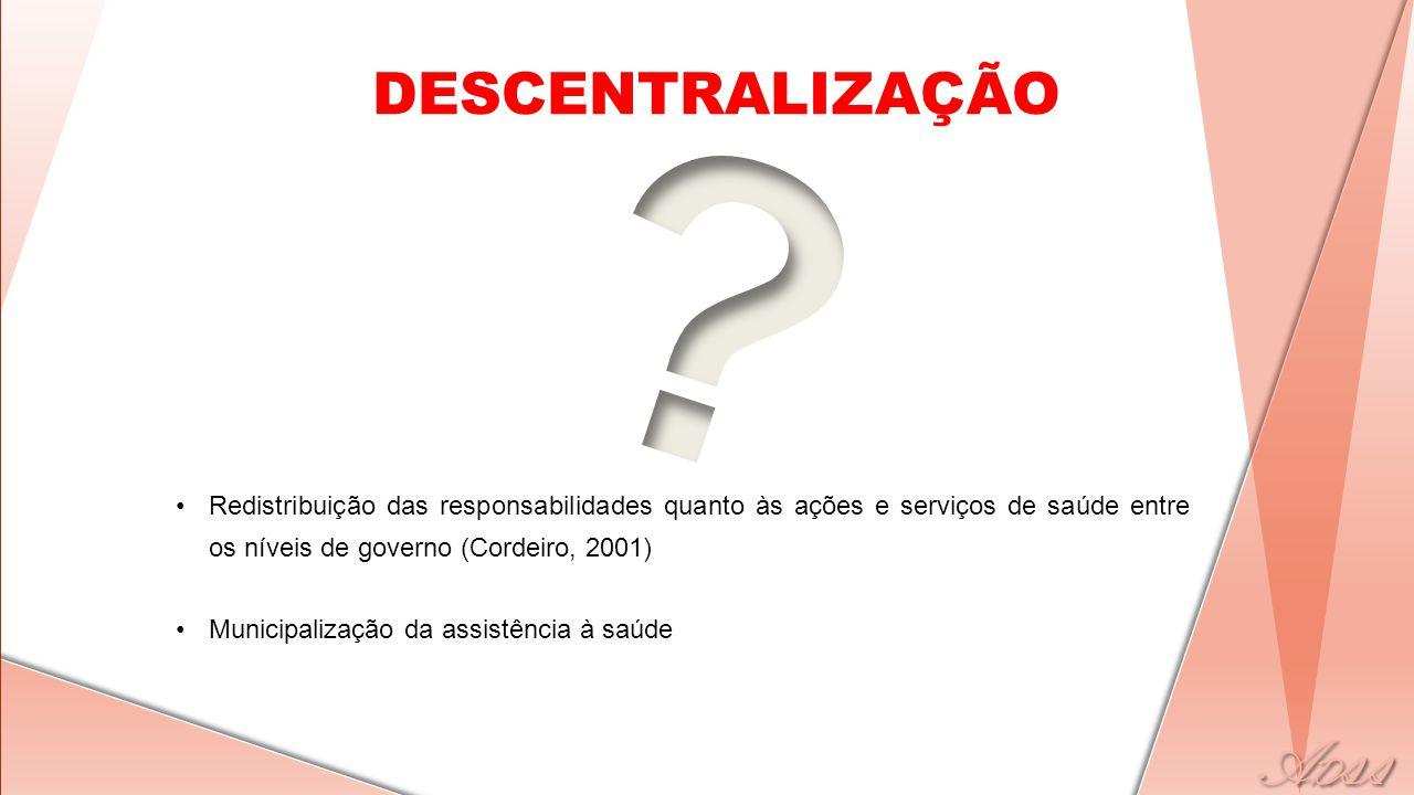 DESCENTRALIZAÇÃO •Redistribuição das responsabilidades quanto às ações e serviços de saúde entre os níveis de governo (Cordeiro, 2001) •Municipalização da assistência à saúde