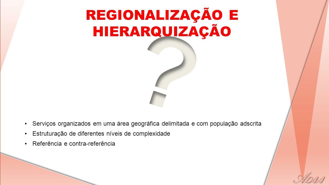 REGIONALIZAÇÃO E HIERARQUIZAÇÃO •Serviços organizados em uma área geográfica delimitada e com população adscrita •Estruturação de diferentes níveis de complexidade •Referência e contra-referência