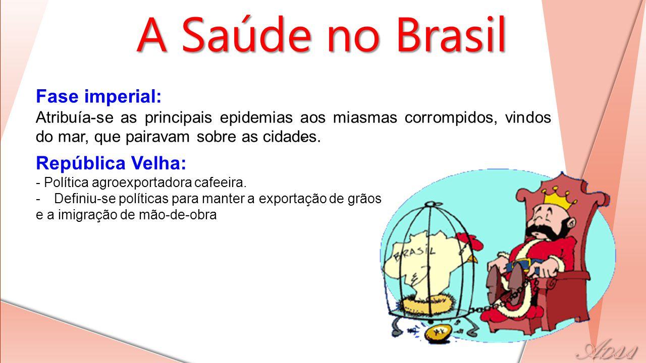 A Saúde no Brasil - Fase imperial: Atribuía-se as principais epidemias aos miasmas corrompidos, vindos do mar, que pairavam sobre as cidades. Repúblic