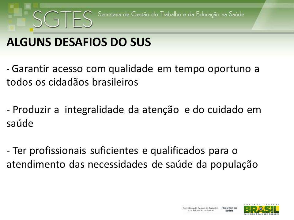 ALGUNS DESAFIOS DO SUS - Garantir acesso com qualidade em tempo oportuno a todos os cidadãos brasileiros - Produzir a integralidade da atenção e do cuidado em saúde - Ter profissionais suficientes e qualificados para o atendimento das necessidades de saúde da população 21