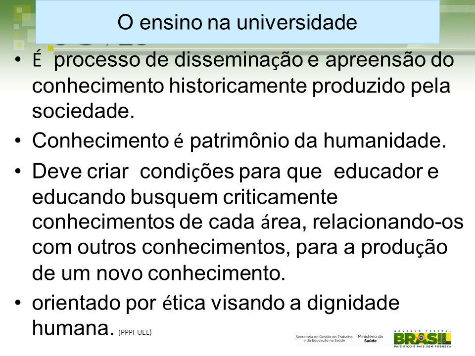 O ensino na universidade • É processo de dissemina ç ão e apreensão do conhecimento historicamente produzido pela sociedade.