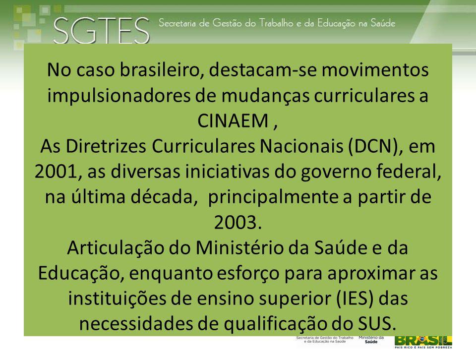 No caso brasileiro, destacam-se movimentos impulsionadores de mudanças curriculares a CINAEM, As Diretrizes Curriculares Nacionais (DCN), em 2001, as diversas iniciativas do governo federal, na última década, principalmente a partir de 2003.