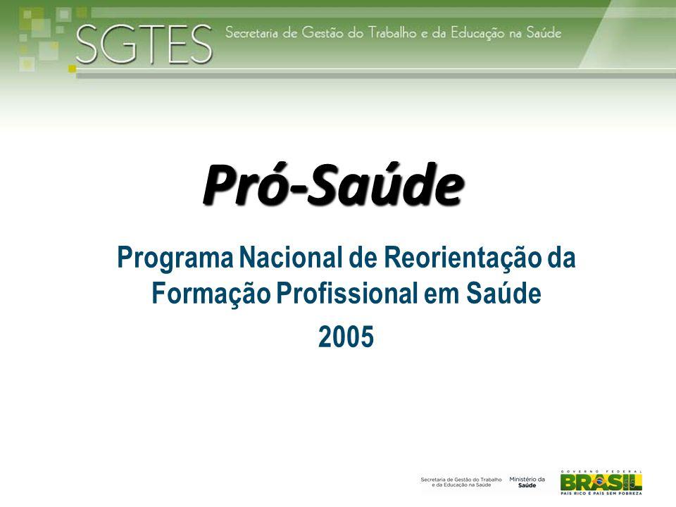 Pró-Saúde Programa Nacional de Reorientação da Formação Profissional em Saúde 2005 55
