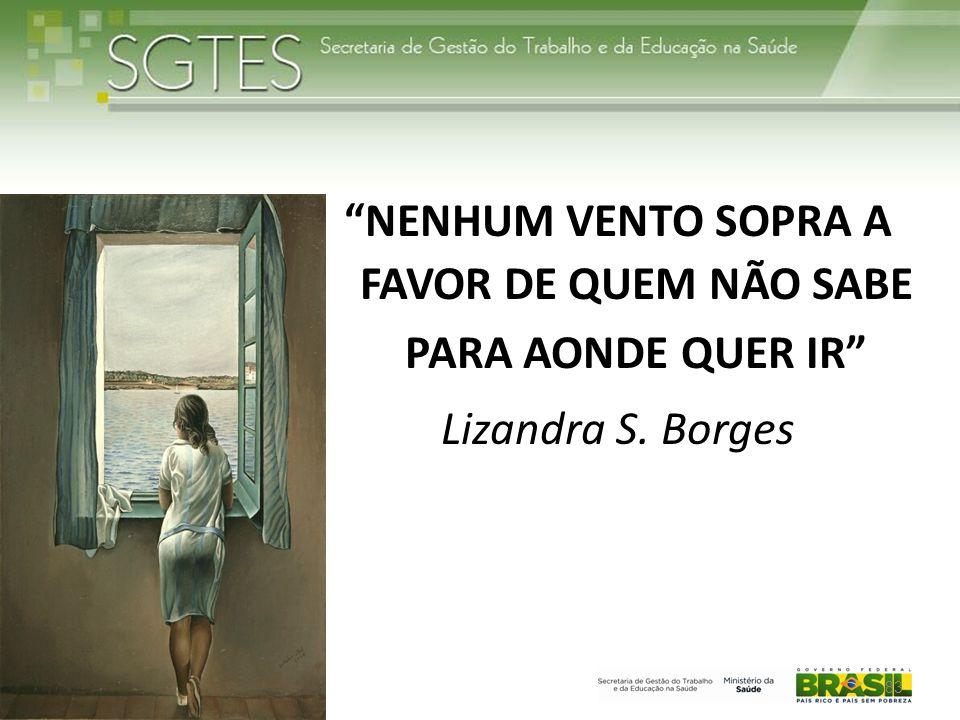 NENHUM VENTO SOPRA A FAVOR DE QUEM NÃO SABE PARA AONDE QUER IR Lizandra S. Borges 83