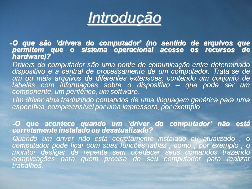 Introdução -O que são 'drivers do computador' (no sentido de arquivos que permitem que o sistema operacional acesse os recursos de hardware).