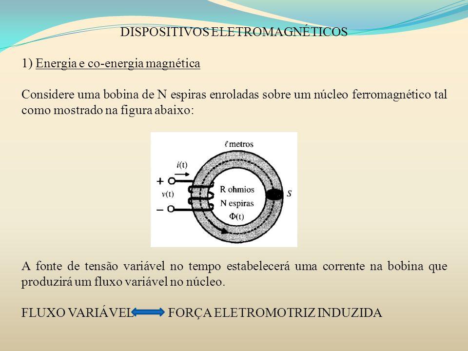 DISPOSITIVOS ELETROMAGNÉTICOS 1) Energia e co-energia magnética Considere uma bobina de N espiras enroladas sobre um núcleo ferromagnético tal como mo