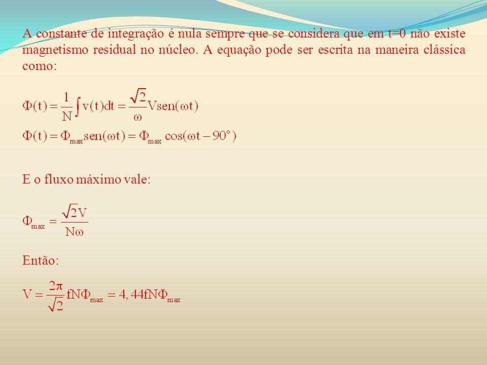 A constante de integração é nula sempre que se considera que em t=0 não existe magnetismo residual no núcleo. A equação pode ser escrita na maneira cl