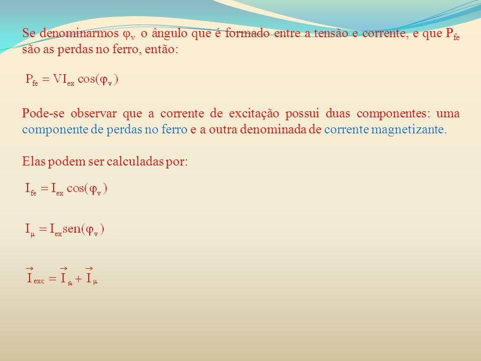 Se denominarmos φ v o ângulo que é formado entre a tensão e corrente, e que P fe são as perdas no ferro, então: Pode-se observar que a corrente de exc