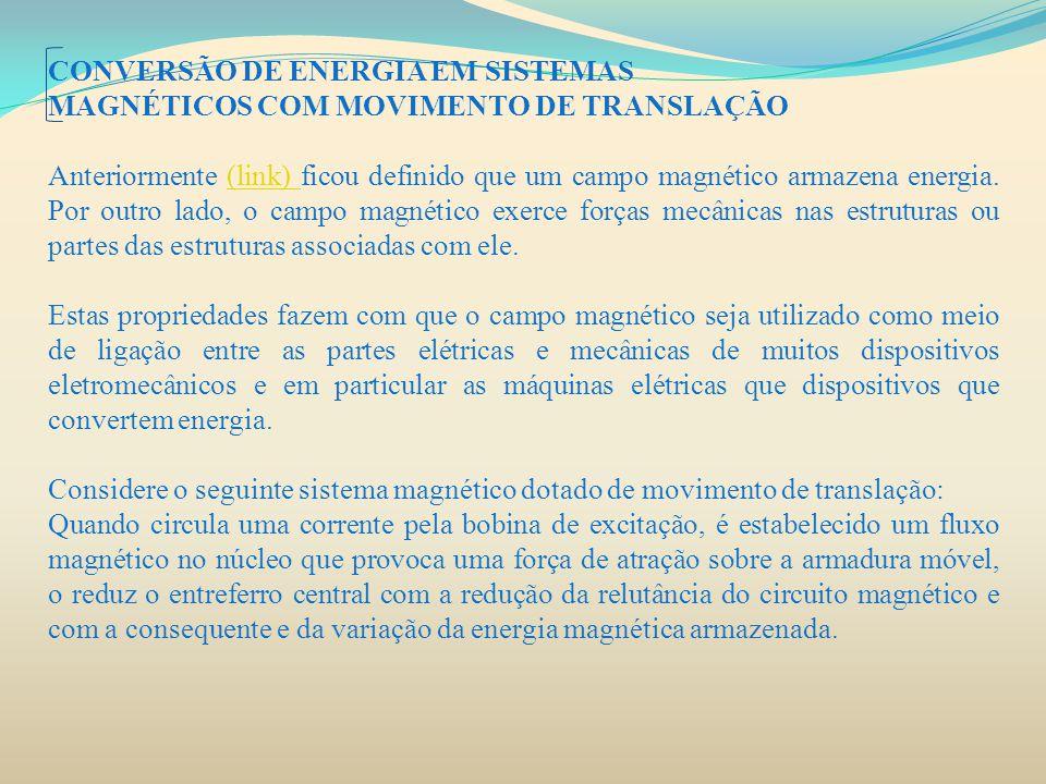 CONVERSÃO DE ENERGIA EM SISTEMAS MAGNÉTICOS COM MOVIMENTO DE TRANSLAÇÃO Anteriormente (link) ficou definido que um campo magnético armazena energia. P
