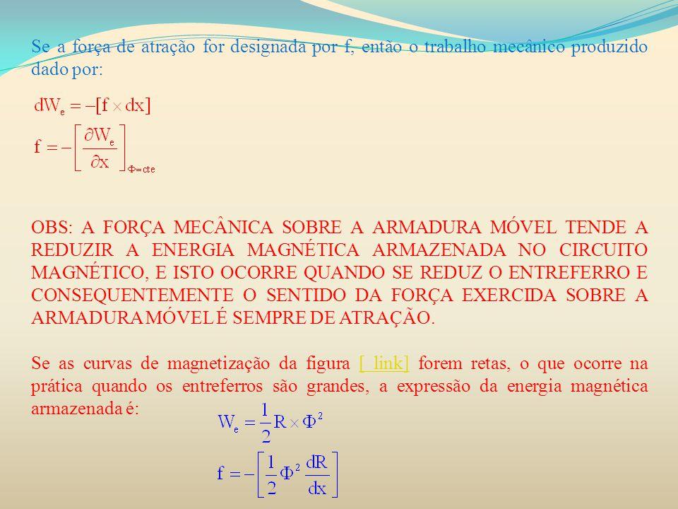 Se a força de atração for designada por f, então o trabalho mecânico produzido dado por: OBS: A FORÇA MECÂNICA SOBRE A ARMADURA MÓVEL TENDE A REDUZIR