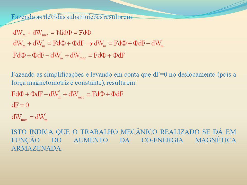 Fazendo as devidas substituições resulta em: Fazendo as simplificações e levando em conta que dF=0 no deslocamento (pois a força magnetomotriz é const