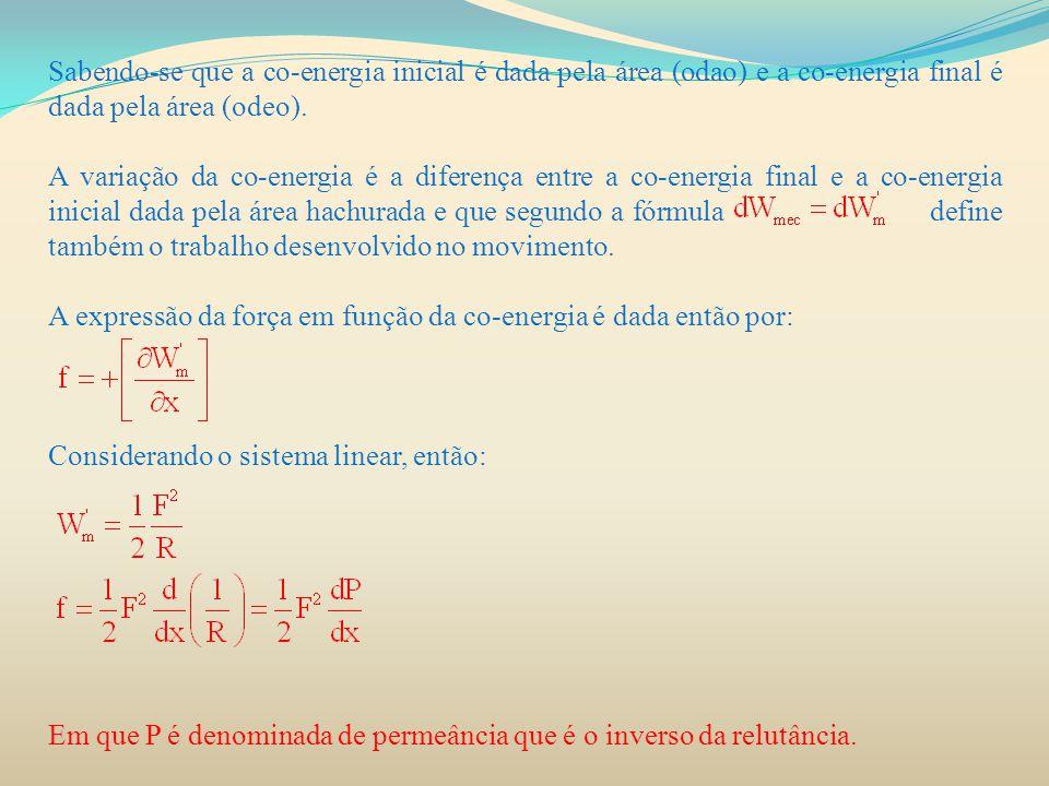 Sabendo-se que a co-energia inicial é dada pela área (odao) e a co-energia final é dada pela área (odeo). A variação da co-energia é a diferença entre