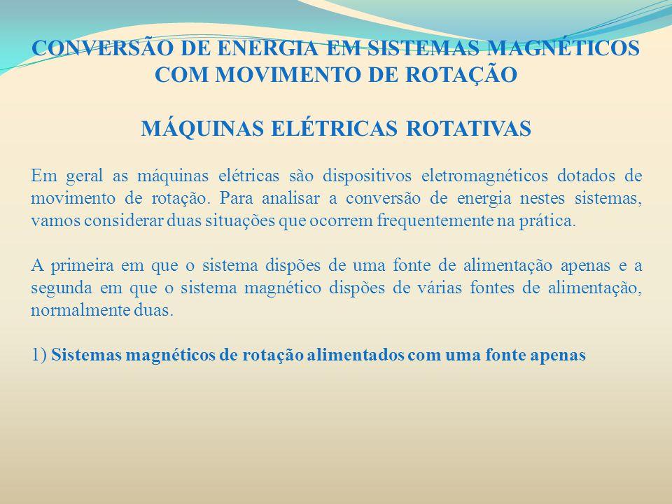 CONVERSÃO DE ENERGIA EM SISTEMAS MAGNÉTICOS COM MOVIMENTO DE ROTAÇÃO MÁQUINAS ELÉTRICAS ROTATIVAS Em geral as máquinas elétricas são dispositivos elet