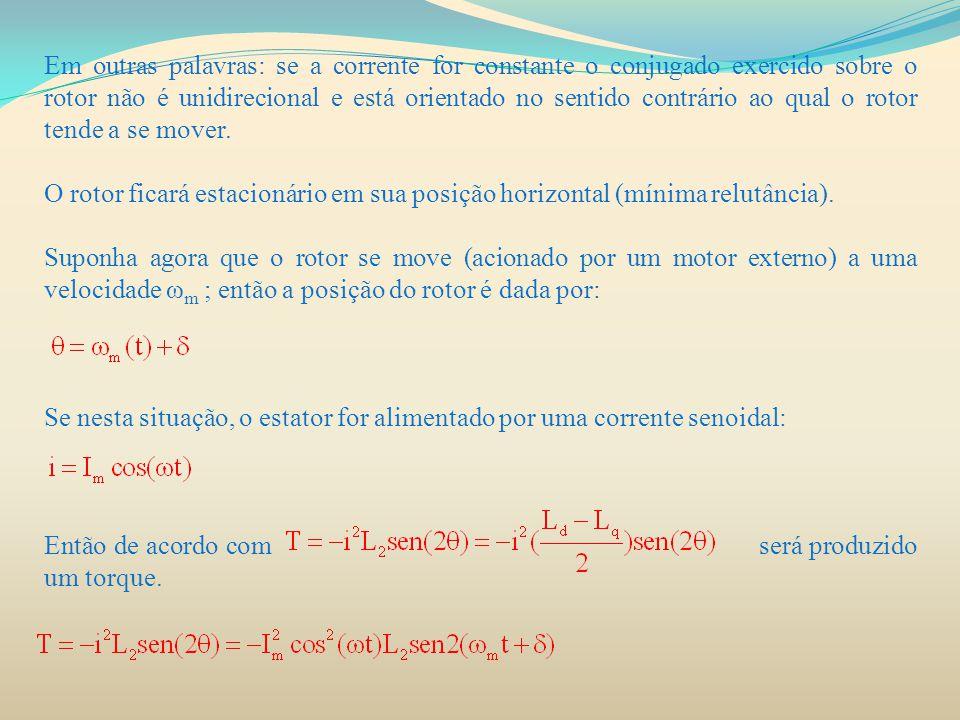 Em outras palavras: se a corrente for constante o conjugado exercido sobre o rotor não é unidirecional e está orientado no sentido contrário ao qual o