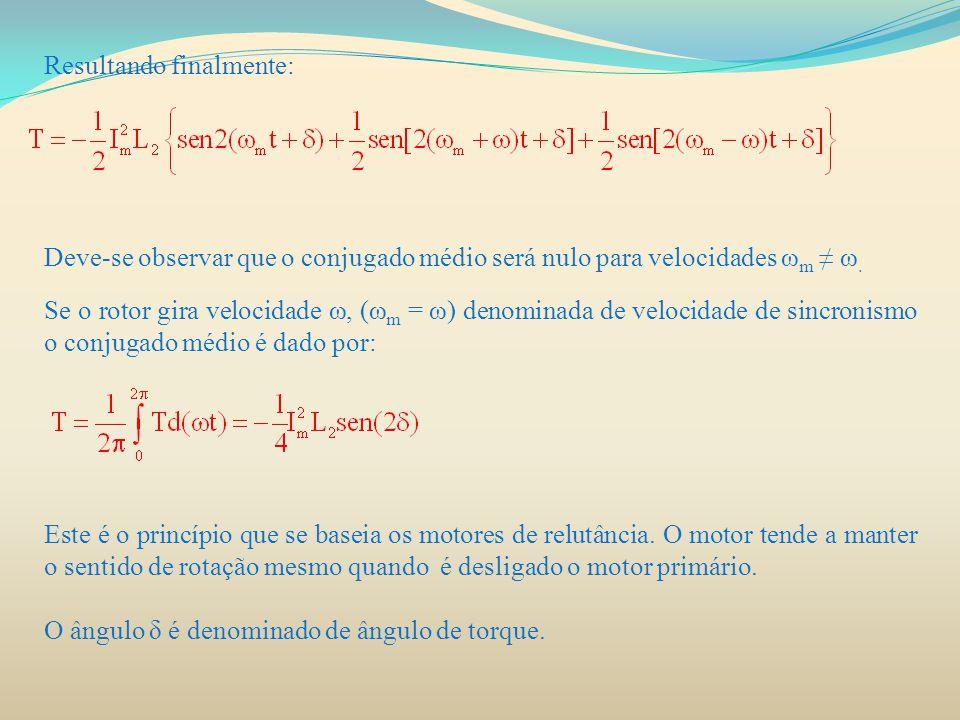 Resultando finalmente: Deve-se observar que o conjugado médio será nulo para velocidades ω m ≠ ω. Se o rotor gira velocidade ω, (ω m = ω) denominada d