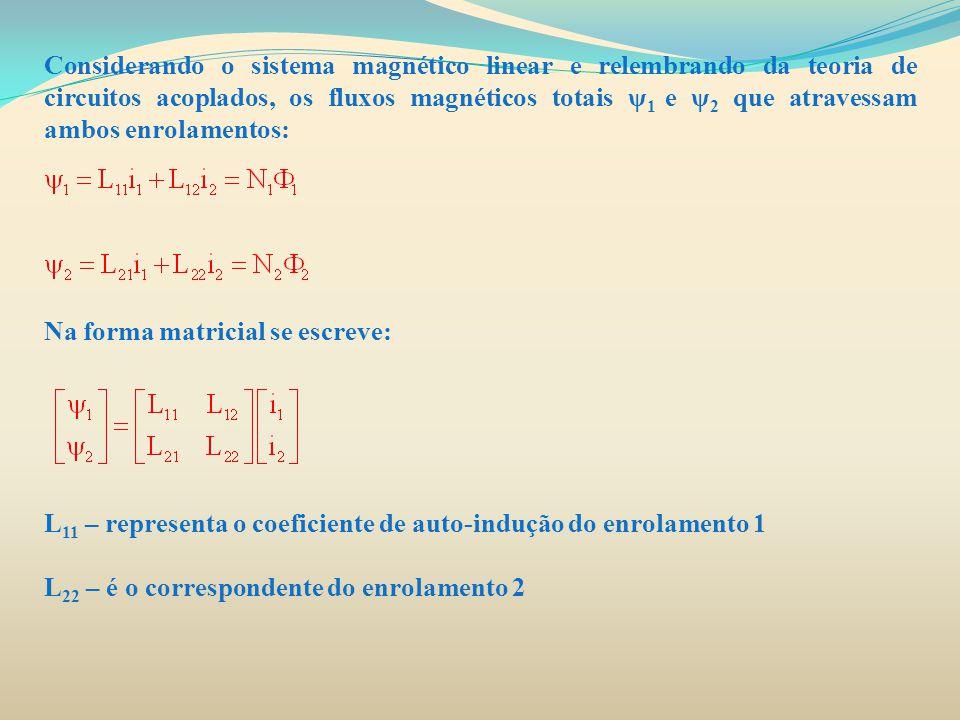 Considerando o sistema magnético linear e relembrando da teoria de circuitos acoplados, os fluxos magnéticos totais ψ 1 e ψ 2 que atravessam ambos enr