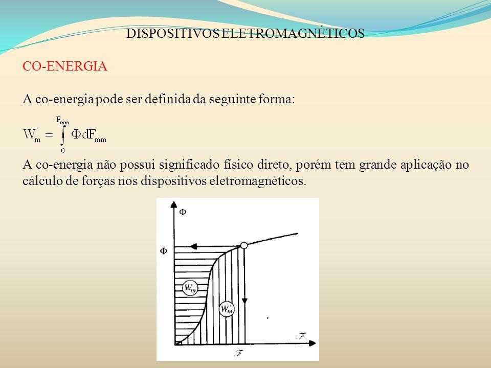 DISPOSITIVOS ELETROMAGNÉTICOS CO-ENERGIA A co-energia pode ser definida da seguinte forma: A co-energia não possui significado físico direto, porém te