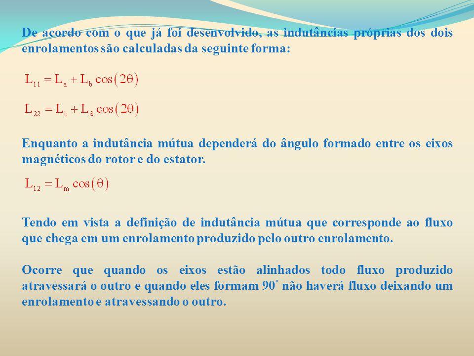 De acordo com o que já foi desenvolvido, as indutâncias próprias dos dois enrolamentos são calculadas da seguinte forma: Enquanto a indutância mútua d