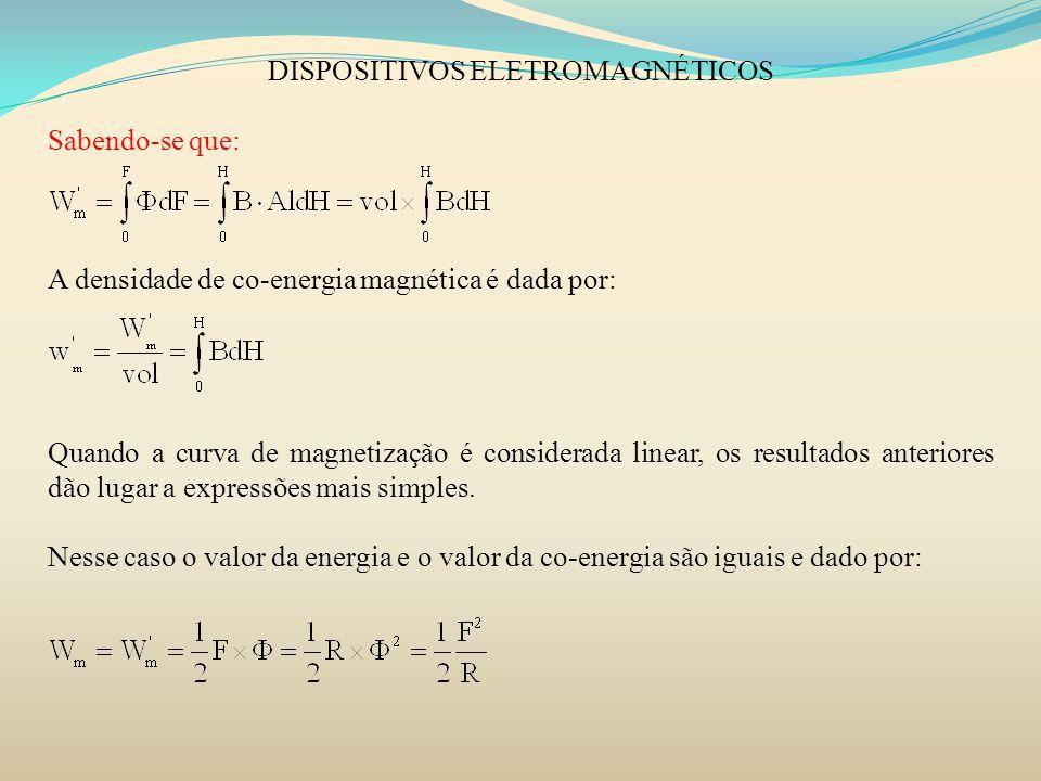DISPOSITIVOS ELETROMAGNÉTICOS Sabendo-se que: A densidade de co-energia magnética é dada por: Quando a curva de magnetização é considerada linear, os