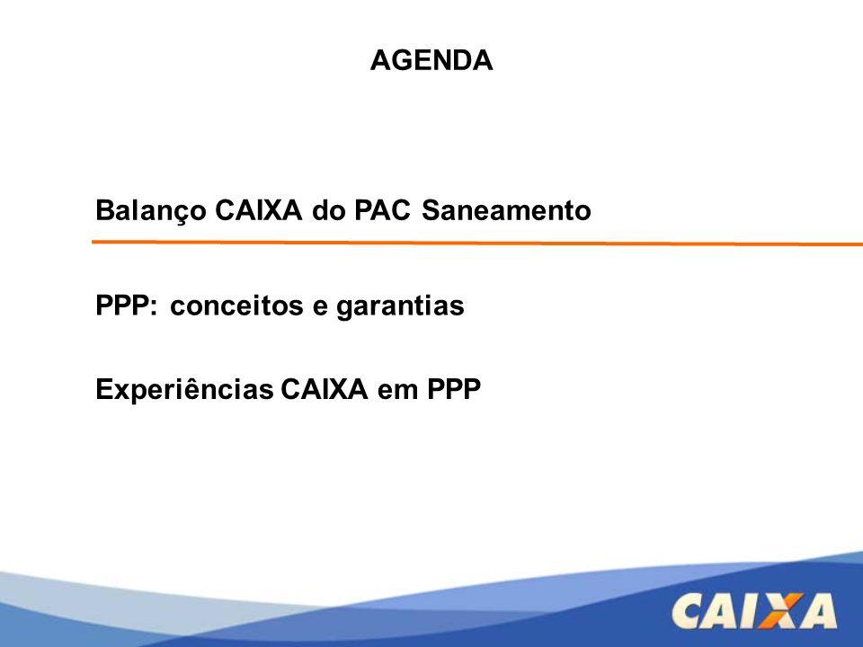Balanço CAIXA do PAC Saneamento PPP: conceitos e garantias Experiências CAIXA em PPP AGENDA