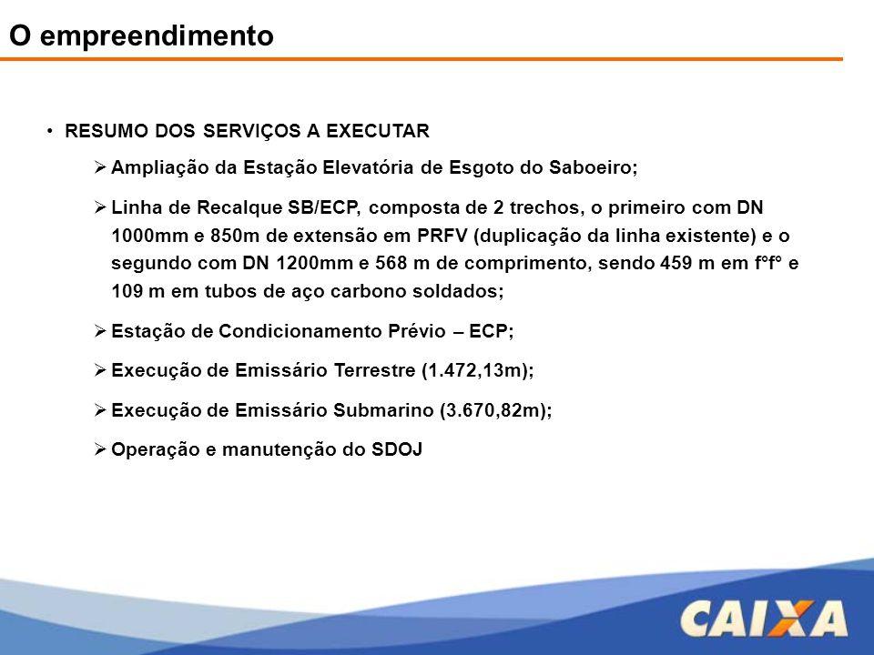 O empreendimento •RESUMO DOS SERVIÇOS A EXECUTAR  Ampliação da Estação Elevatória de Esgoto do Saboeiro;  Linha de Recalque SB/ECP, composta de 2 tr