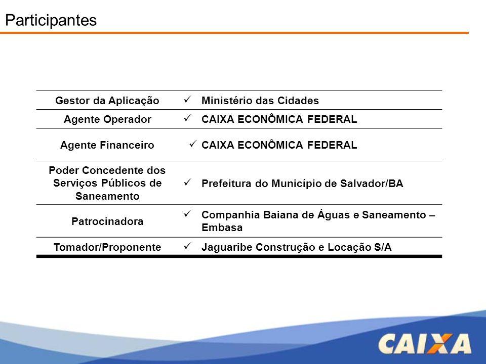 Gestor da Aplicação  Ministério das Cidades Agente Operador  CAIXA ECONÔMICA FEDERAL Agente Financeiro  CAIXA ECONÔMICA FEDERAL Poder Concedente do