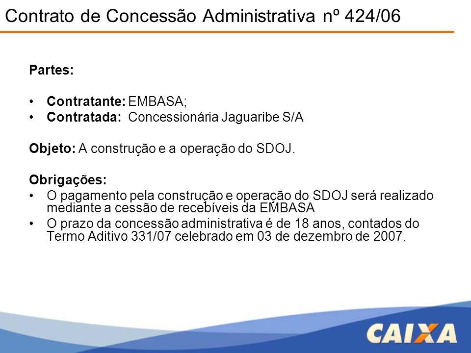 Partes: •Contratante: EMBASA; •Contratada: Concessionária Jaguaribe S/A Objeto: A construção e a operação do SDOJ. Obrigações: •O pagamento pela const