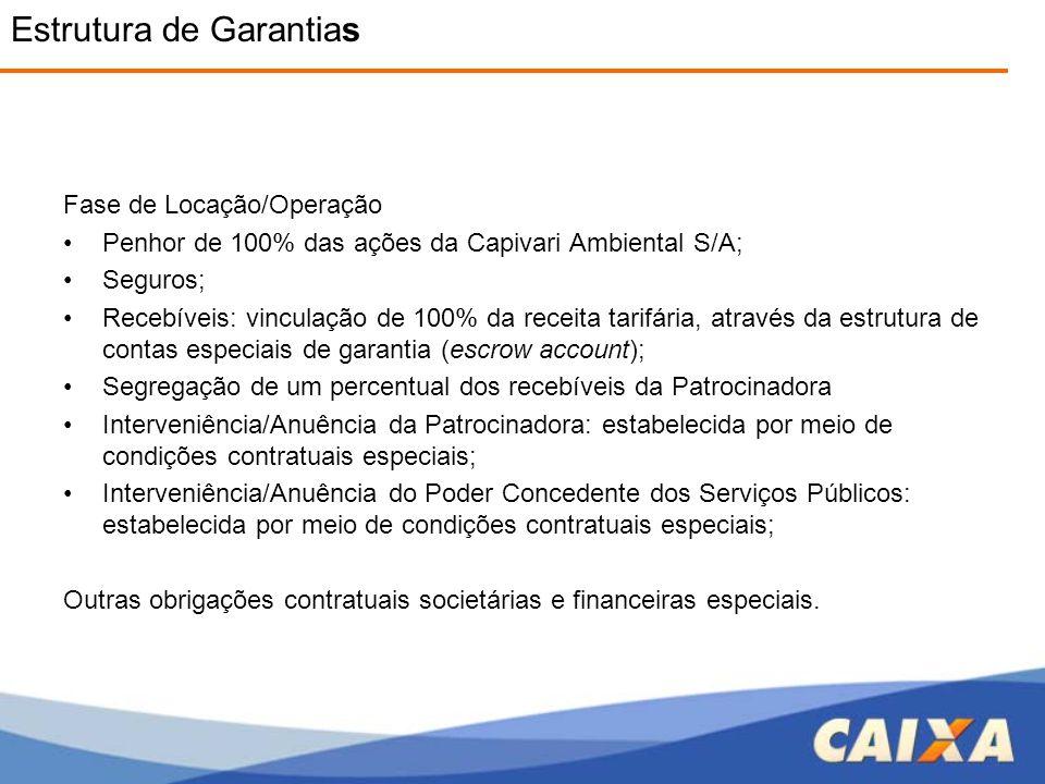 Fase de Locação/Operação •Penhor de 100% das ações da Capivari Ambiental S/A; •Seguros; •Recebíveis: vinculação de 100% da receita tarifária, através