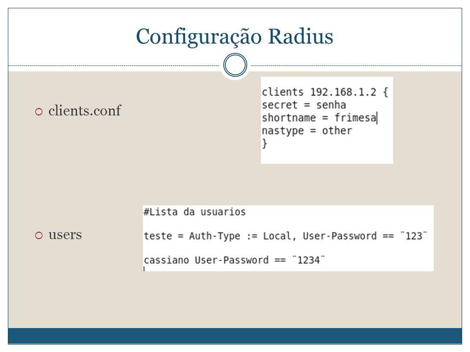 Configuração Radius  clients.conf  users