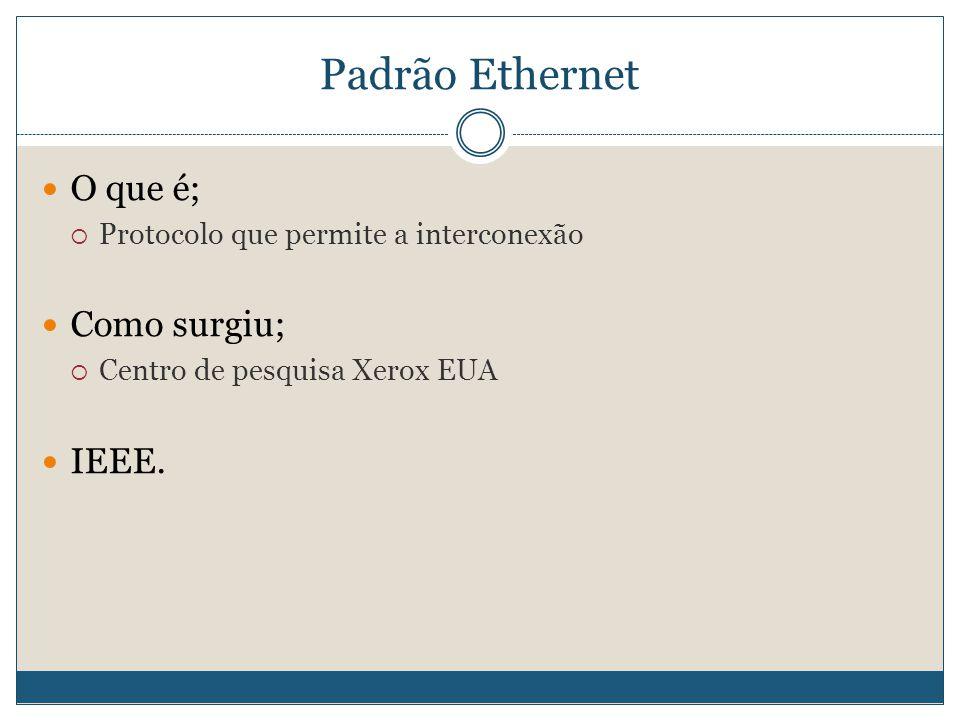 Padrão Ethernet  O que é;  Protocolo que permite a interconexão  Como surgiu;  Centro de pesquisa Xerox EUA  IEEE.