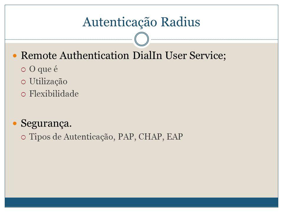 Autenticação Radius  Remote Authentication DialIn User Service;  O que é  Utilização  Flexibilidade  Segurança.  Tipos de Autenticação, PAP, CHA