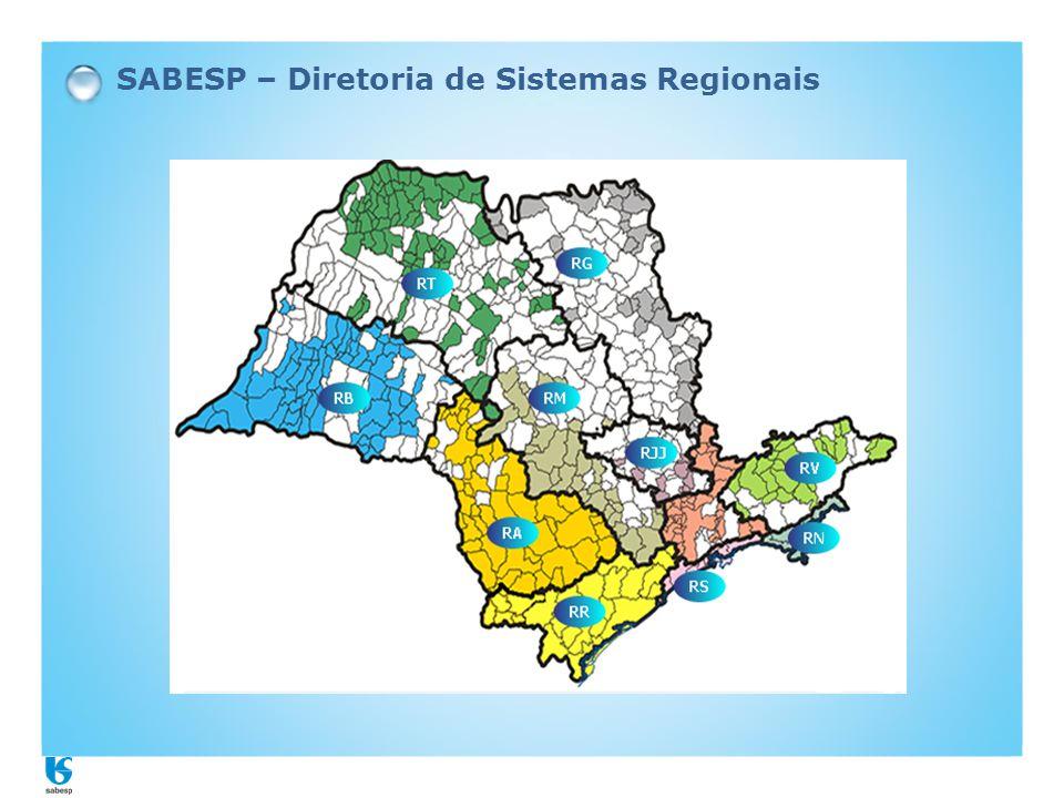 Unidade de Negócio Baixo Tietê e Grande - RT - Municípios: 82 - Distritos : 39 - Total de comunidades: 121 - Distância Norte-Sul : 380 km - Ligações de Água: 235.000 - Clientes: 700.000