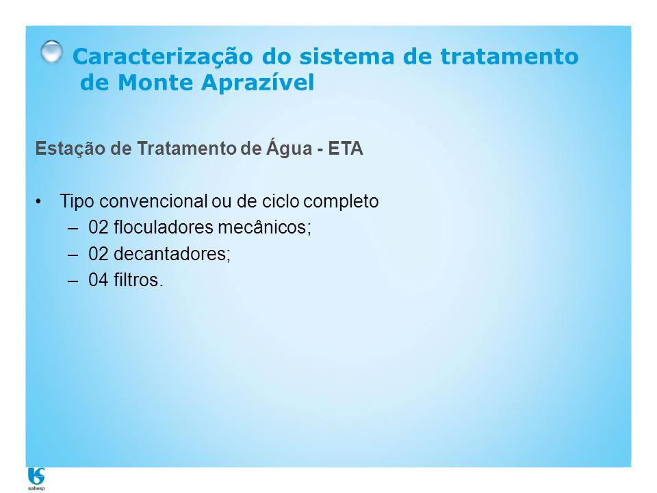 Caracterização do sistema de tratamento de Monte Aprazível Estação de Tratamento de Água - ETA •Tipo convencional ou de ciclo completo –02 floculadore