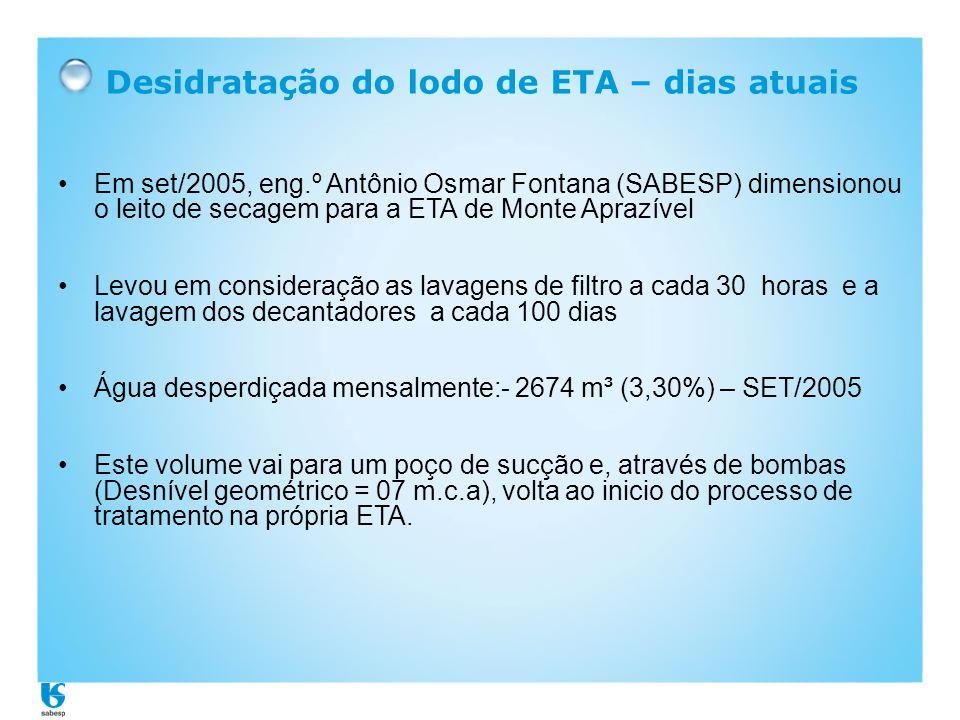 Desidratação do lodo de ETA – dias atuais •Em set/2005, eng.º Antônio Osmar Fontana (SABESP) dimensionou o leito de secagem para a ETA de Monte Aprazí