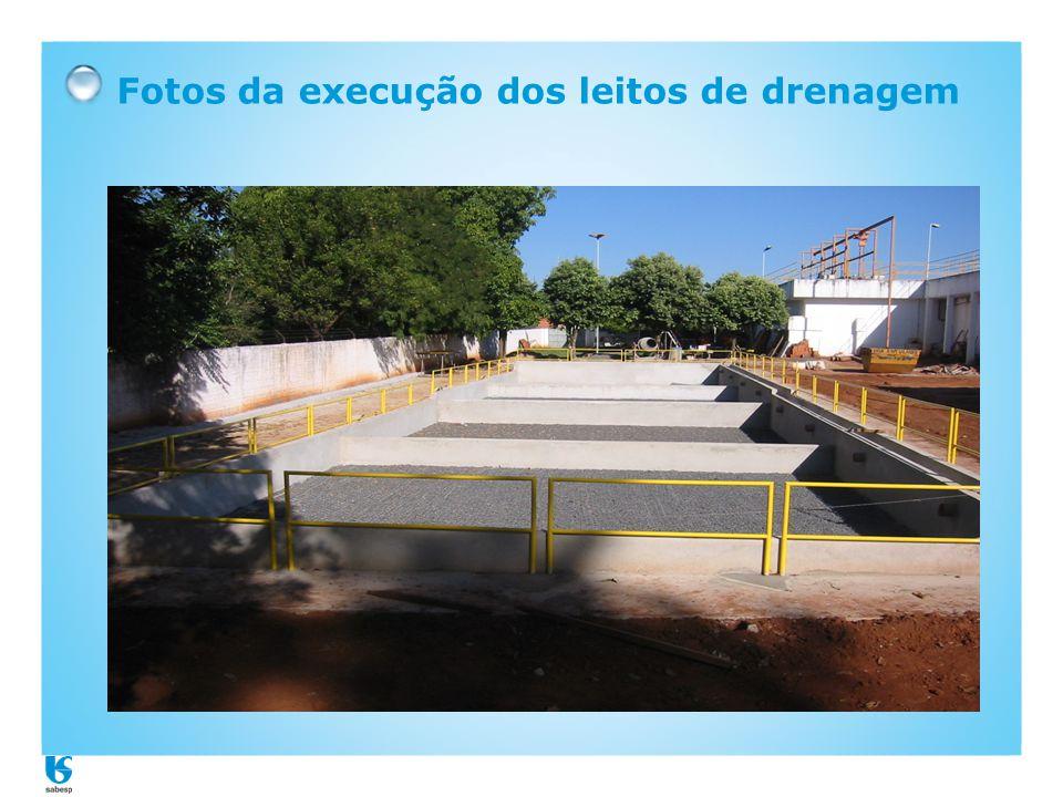Fotos da execução dos leitos de drenagem