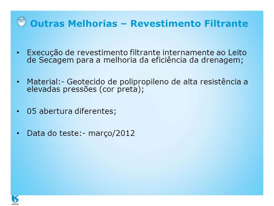 Outras Melhorias – Revestimento Filtrante • Execução de revestimento filtrante internamente ao Leito de Secagem para a melhoria da eficiência da drena
