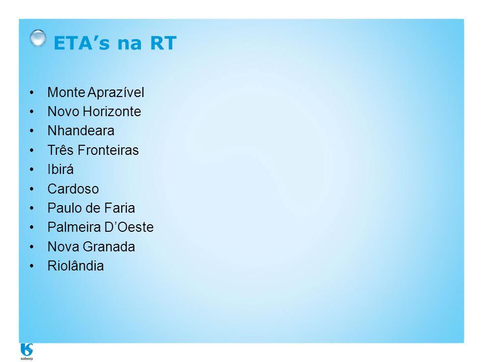 ETA's na RT •Monte Aprazível •Novo Horizonte •Nhandeara •Três Fronteiras •Ibirá •Cardoso •Paulo de Faria •Palmeira D'Oeste •Nova Granada •Riolândia