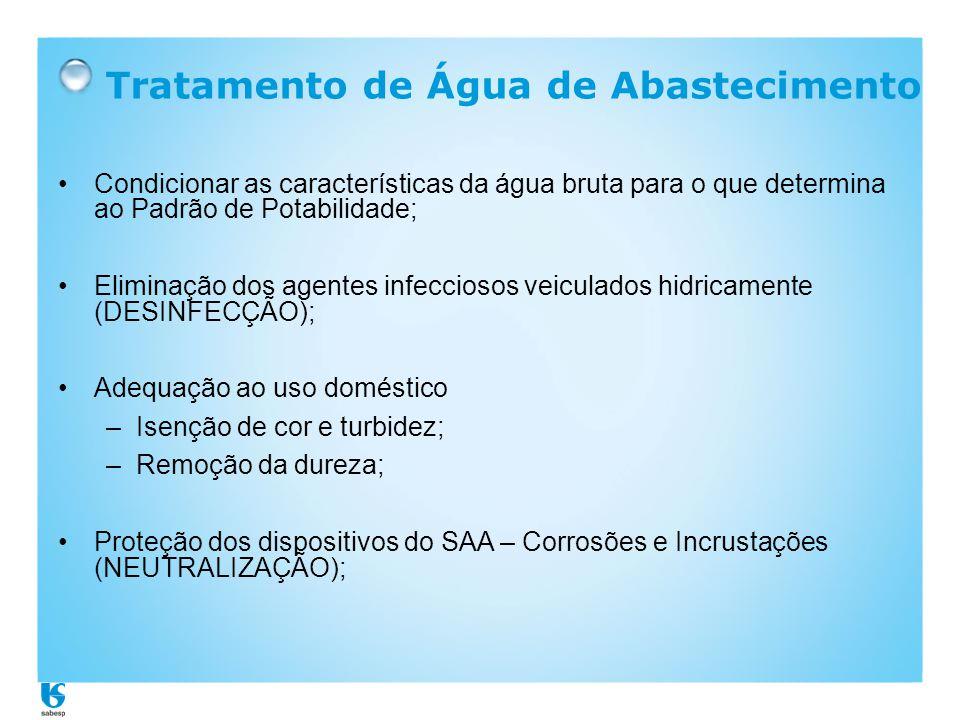 Tratamento de Água de Abastecimento •Condicionar as características da água bruta para o que determina ao Padrão de Potabilidade; •Eliminação dos agen