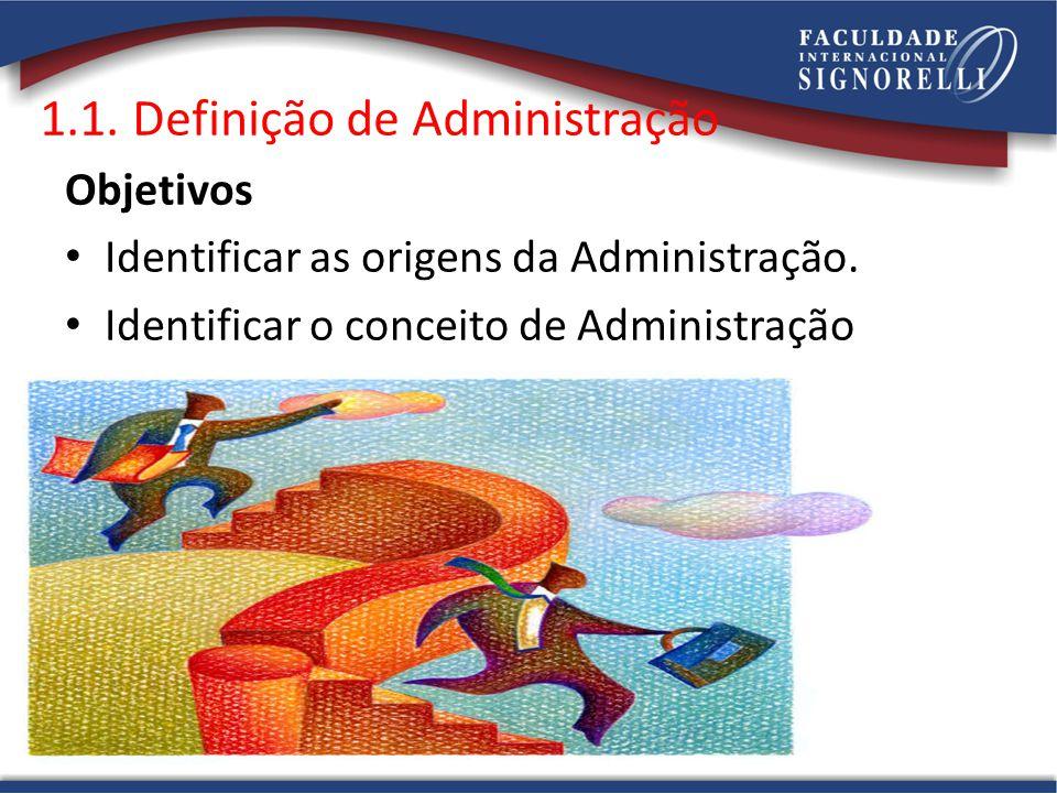 1.1. Definição de Administração Objetivos • Identificar as origens da Administração. • Identificar o conceito de Administração