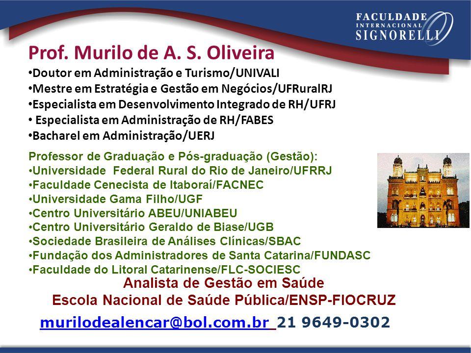 Prof. Murilo de A. S. Oliveira • Doutor em Administração e Turismo/UNIVALI • Mestre em Estratégia e Gestão em Negócios/UFRuralRJ • Especialista em Des
