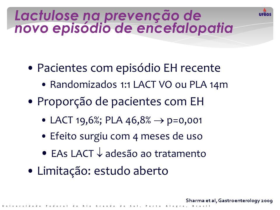 Lactulose na prevenção de novo episódio de encefalopatia Sharma et al, Gastroenterology 2009 • Pacientes com episódio EH recente • Randomizados 1:1 LA