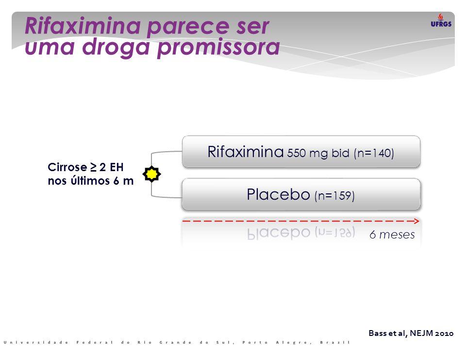 Rifaximina parece ser uma droga promissora Bass et al, NEJM 2010 Rifaximina 550 mg bid (n=140) 6 meses Cirrose ≥ 2 EH nos últimos 6 m