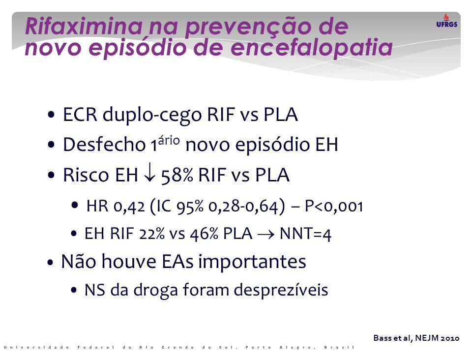 Rifaximina na prevenção de novo episódio de encefalopatia Bass et al, NEJM 2010 • ECR duplo-cego RIF vs PLA • Desfecho 1 ário novo episódio EH • Risco