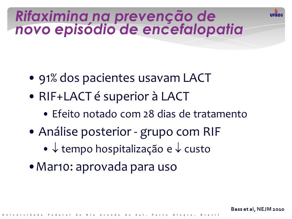 Rifaximina na prevenção de novo episódio de encefalopatia Bass et al, NEJM 2010 • 91% dos pacientes usavam LACT • RIF+LACT é superior à LACT • Efeito