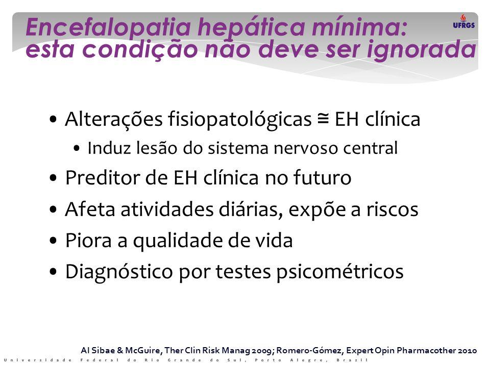 Encefalopatia hepática mínima: esta condição não deve ser ignorada • Alterações fisiopatológicas ≅ EH clínica • Induz lesão do sistema nervoso central