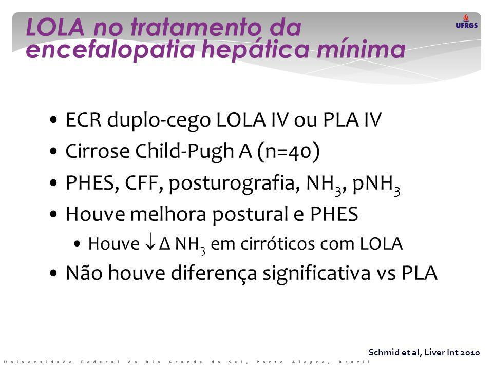 LOLA no tratamento da encefalopatia hepática mínima Schmid et al, Liver Int 2010 • ECR duplo-cego LOLA IV ou PLA IV • Cirrose Child-Pugh A (n=40) • PH